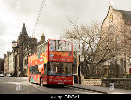 City Sightseeing open top bus on the Royal Mile, Edinburgh Old Town, Scotland, UK - Stock Image