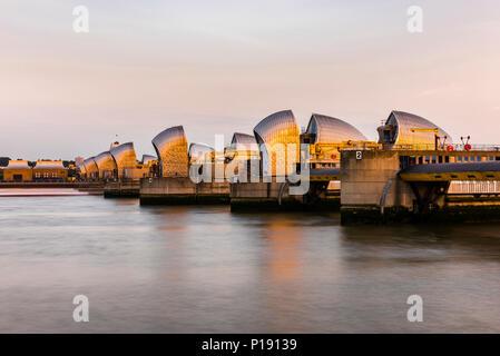 Thames Barrier at dusk, London, UK - Stock Image