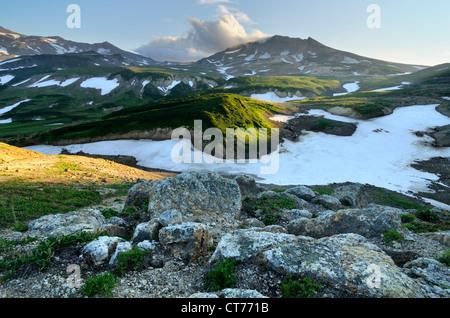 landscape in Mutnovsky volcano area on Kamchatka - Stock Image