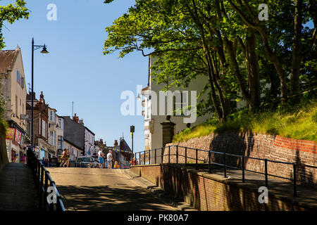 UK, England, Yorkshire, Filey, Murray Street from Cargate Street rising from promenade - Stock Image