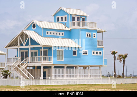Typical wooden houses architecture Galveston, Texas, North Texas, USA - Stock Image