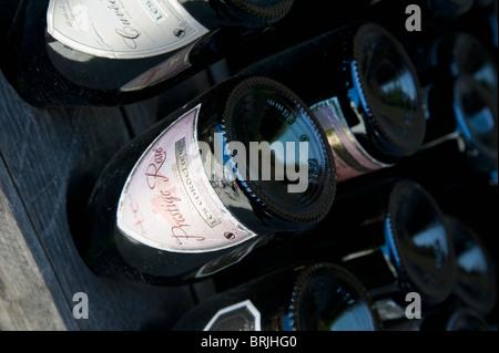 Champagne Bottles, Saint Emilion, Aquitaine, France - Stock Image