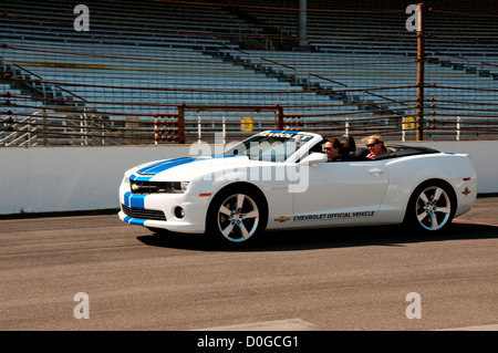 USA, Indiana, Indianapolis Motor Speedway, fan rides in pace cars during off season scene of the annual Indy 500 - Stock Image