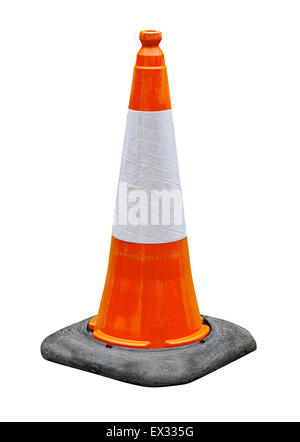 Orange and White reflective traffic cone isolated against a white background great concept for hazards and safety. - Stock Image