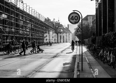 Street at the entrance to Christiania, Copenhagen, Denmark - Stock Image
