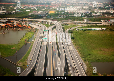 Aerial view of freeways, Bangkok, Thailand - Stock Image