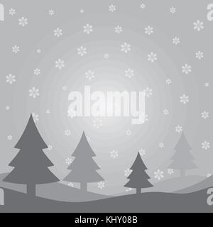 Merry Christmas card with winter landscape on grey background. Vector illustration - Stock Image