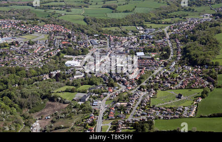 aerial view of Holywell town centre in Flintshire, North Wales, UK - Stock Image