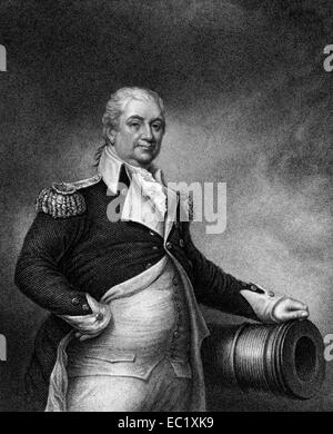 Henry Knox (1750-1806) on engraving from 1835. Military officer of the Continental Army and later the United States - Stock Image
