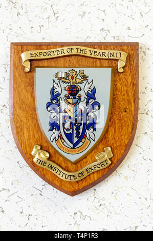 An award from the Institute of Export for Exporter of the Year Northern Ireland - Stock Image