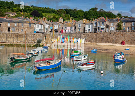 16 June 2018: Mousehole, Cornwall, UK - The harbour and village. - Stock Image