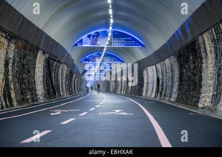 Capo Nero tunnel with Giro d'Italia decoration, Riviera dei Fiori, San Remo, Liguria, Italy - Stock Image
