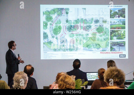 Miami Beach Florida North Beach North Shore Community Center centre meeting speaker speaking audience members citizens listening neighborhood improvem - Stock Image