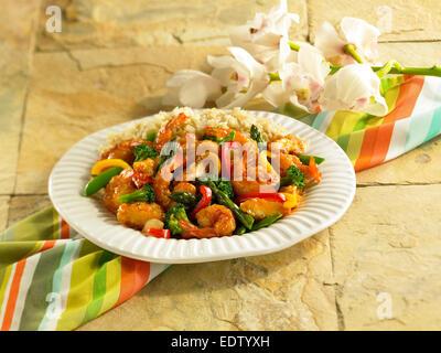 Chicken and Shrimp stir fry - Stock Image
