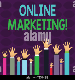 Handwriting text writing Online Marketing. Conceptual photo leveraging web based channels spread about companys brand Hands of Several Businessmen Rai - Stock Image