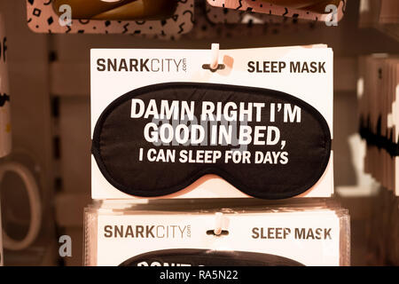 A very funny sleep mask for sale at It'sugar, a candy by the pound store on Broadway in Greenwich Village, New York City. - Stock Image