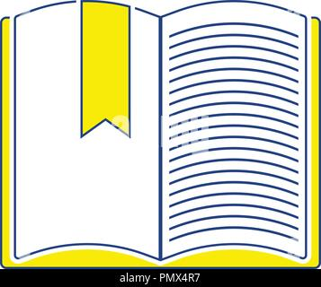 Icon of Open book with bookmark. Thin line design. Vector illustration. - Stock Image