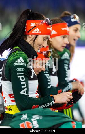 Juliane Frühwirth vorne. The German Team Challenge takes place during the JOKA Biathlon WTC auf Schalke featuring young German biathlethes. - Stock Image