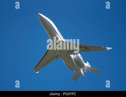 Dassault Falcon 2000LXS charter Air Alsie flight   departing from Inverness Dalcross Airport in Scotland.UK. - Stock Image