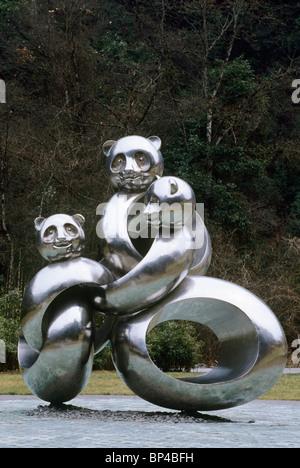 Statue of panda family at Wolong, China - Stock Image