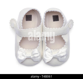 Girls Baby Dress Shoes Top View Isolated on White. - Stock Image