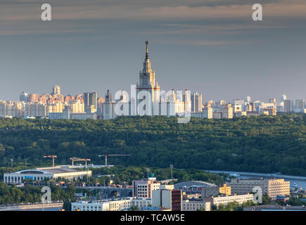 Sunset view of Moscow State University on the Sparrow Hills above Moscow, Russia - Stock Image