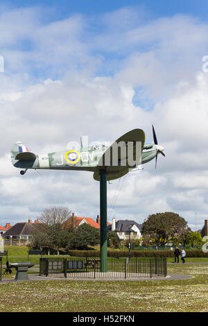 The replica of Spitfire W3644at Lytham St Annes, Lancashire. The original plane came from funds raised by residents - Stock Image