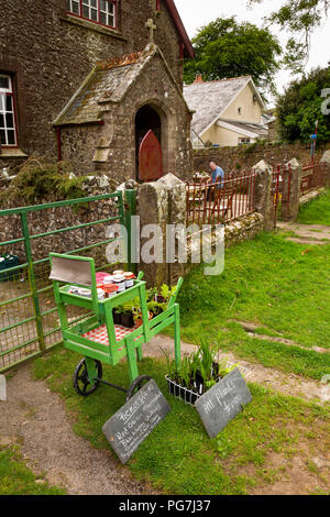 UK, England, Devon, Dartmoor, Belstone village, home made produce stall outside old chapel, now tea room - Stock Image