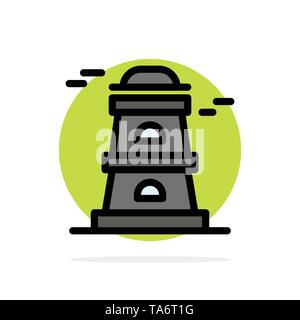 Observatory, Tower, Watchtower Abstract Circle Background Flat color Icon - Stock Image