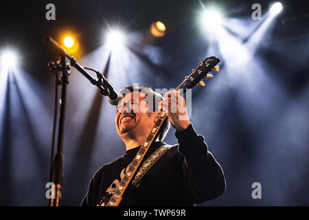 Copenhagen, Denmark - June 21st, 2019. The French doom metal band Fiend performs a live concert during the Danish heavy metal festival Copenhell 2019 in Copenhagen. Here vocalist and guitarist Heitham Al-Sayed is seen live on stage. (Photo credit: Gonzales Photo - Peter Troest). - Stock Image