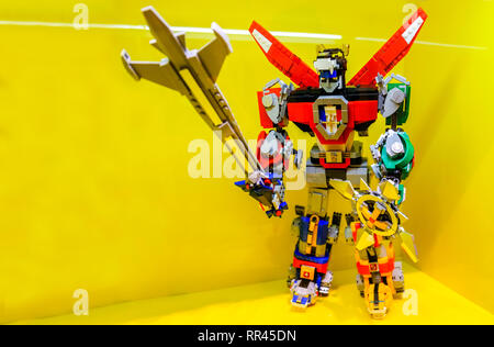 Voltron action figure made of Lego bricks - Stock Image