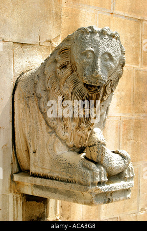 ancient lion sculpture in the beautiful small historic town of Visso in Le Marche ,Italy - Stock Image