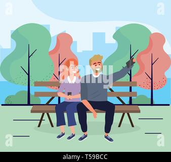 woman and man seating in the chair with smartphone vector illustration - Stock Image