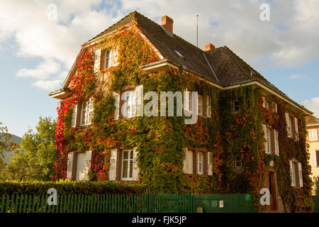 The house of  Dr Albert Schweitzer in Gunsbach Munster Valley Alsace France - Stock Image