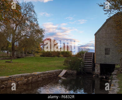 Historic Dexter Grist Mill, Sandwich, Cape Cod Massachusetts USA with undershot wooden water wheel and millrace - Stock Image
