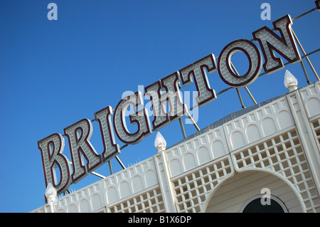 Sign on Brighton Pier, East Sussex, England - Stock Image