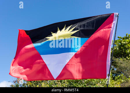 National flag of Antigua and Barbuda, Lesser Antilles, Caribbean - Stock Image