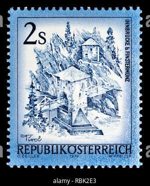 Austrian definitive postage stamp (1974) : Innbrucke bei Finstermunz - Stock Image