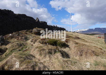 Althing - the site of the first and ancient Icelandic Parliament, Thingvellir [Þingvellir] National Park - Stock Image
