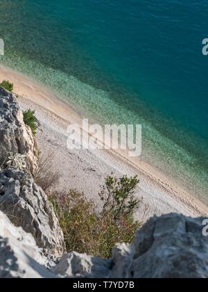 Hidden paradise beach Nugal in Croatia on sunny summer day - Stock Image