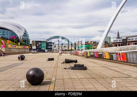 Outdoor public space outside the Baltic Contemporary Art Gallery, Gateshead, UK. August 2018. - Stock Image