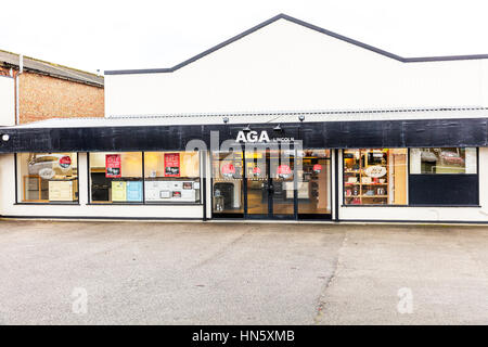 Aga cooker shop selling aga cookers store supplying aga cookers suppliers to homes UK England - Stock Image