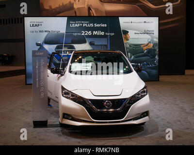 2019 Nissan Leaf Plus electric vehicle. Chicago Auto Show. - Stock Image