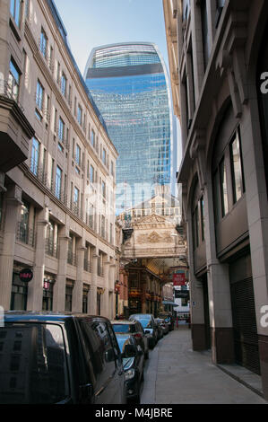Entrace to the Leadenhall market with 20 Fenchurch Street aka Walkie-Talkie building in background, London, United - Stock Image