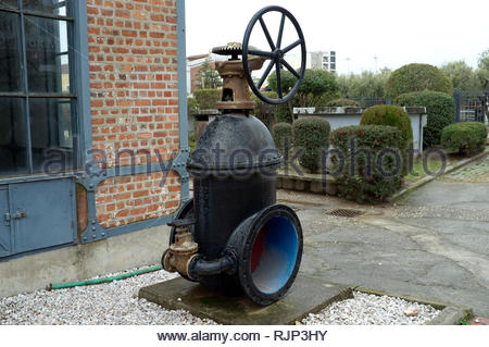 Water Museum - a large valve on display outside the museum in Thessaloniki, Central Macedonia, Greece. - Stock Image