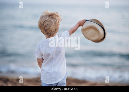 A rear view of small toddler boy with hat standing on beach on summer holiday. - Stock Image