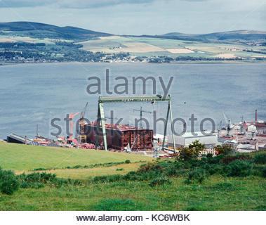 mv JAG PRIYA being built at Scott Lithgow shipyard on the  River Clyde, Scotland, UK – 1974 - Stock Image