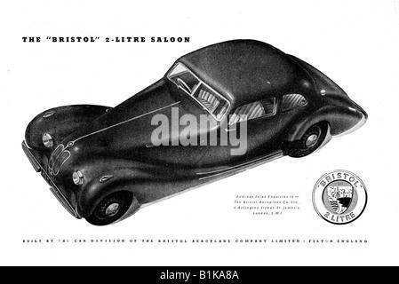 1948 advertisement for the Bristol 2 Litre Saloon  Motor Car FOR EDITORIAL USE ONLY - Stock Image