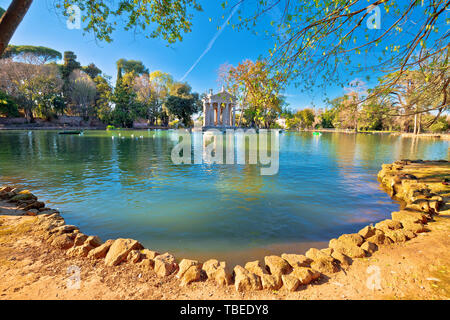 Laghetto Di Borghese lake and Temple of Asclepius in Rome, capital of Italy - Stock Image