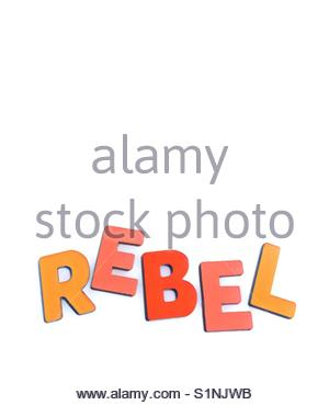 rebel (word) - Stock Image